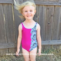 Youth Swimsuit, NEW! Hot Pink with Shotgun Pattern, 2T-14, Made in the USA