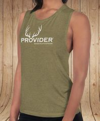 PROVIDER™ Hunting Logo Relaxed Fit Muscle T, Olive Green, NEW!
