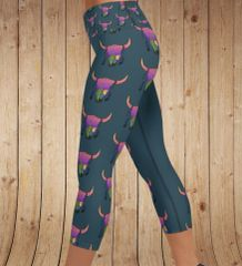 Sunset Skull Southwestern CAPRI With Wide Yoga Waistband, (Option to make full length)