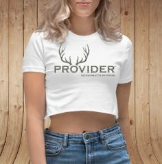 PROVIDER™ Hunting Logo, Crop Top T shirt (White) NEW!
