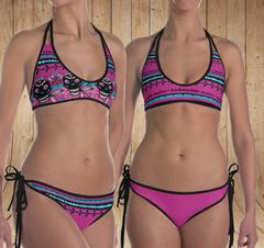 Reversible Bikini, Two Swimsuits in One, Tattoo Pattern in Hot Pink