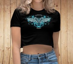 Handgun 2A Logo, Black Crop Top T shirt