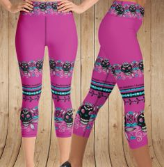Tattoo Logo Leggings, Hot Pink, Yoga CAPRI, Wide Waistband Version