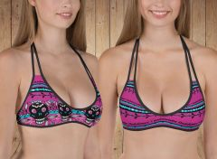 Separates, Reversible Bikini Top Only, Tattoo Pattern Hot Pink, Get 2 Bikini Tops in 1