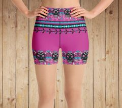 Tattoo Pattern Athletic Shorts, Hot Pink, Wide Yoga Waistband
