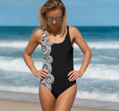 One Piece Swimsuit, NEW! Black or Hot Pink with Shotgun Pattern, Made in the USA