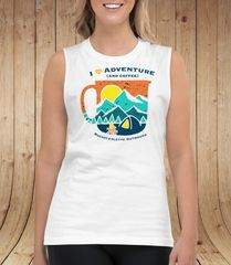 SALE, $15 OFF, 2XL Adventure and Coffee, Relaxed Fit Muscle Tank Top, White