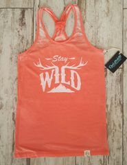 SALE 15% OFF, Stay Wild Sporty Racerback Tank, Color: Coral