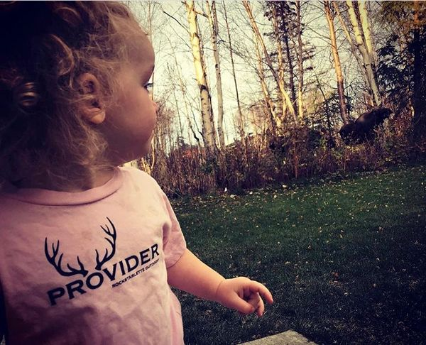 Youth PROVIDER™ T Shirt, Baby and Toddler Sizes, Pink or Black, Fishing or Hunting Logo, 6mos-5T