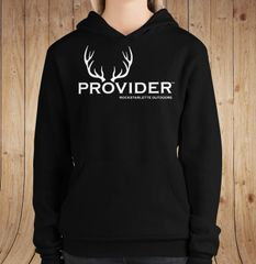 PROVIDER Hunting Logo Fleece Lined Pullover Hoodie, Black or Heather Green