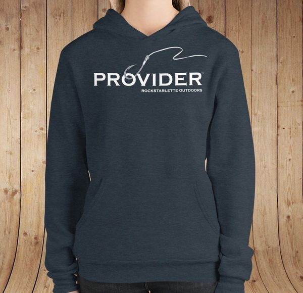 PROVIDER Fishing Logo Fleece Lined Pullover Hoodie, Heather Indigo Blue