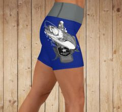 Yoga Shorts, Fishing and Beer Logo Athletic Shorts