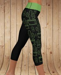 Cactus Logo Leggings, Yoga CAPRI, Wide Waistband Version
