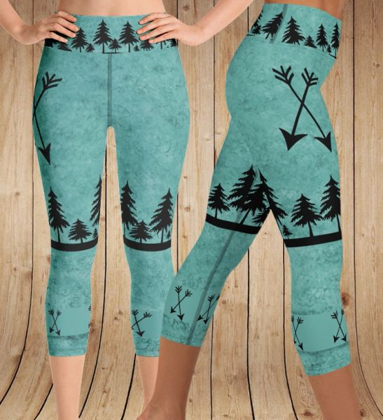 Arrow Leggings, Teal, CAPRI Wide Yoga Waistband (Option to make Full Length)