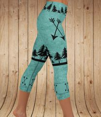 Arrow Leggings, Teal, Yoga CAPRI Wide Waistband Version