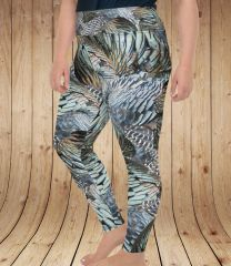 Turkey Feather Plus Size Leggings, (2XL-5XL)