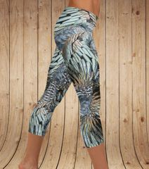 Turkey Feather Leggings, CAPRI Version (Option to add Wide Yoga Waistband)