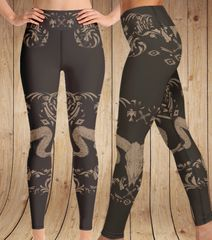 Tribal Sheep Leggings, Wide Yoga Waistband Version, Earth Tones