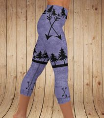 Arrow Leggings, Purple, Yoga CAPRI Wide Waistband, (Option to make full length)