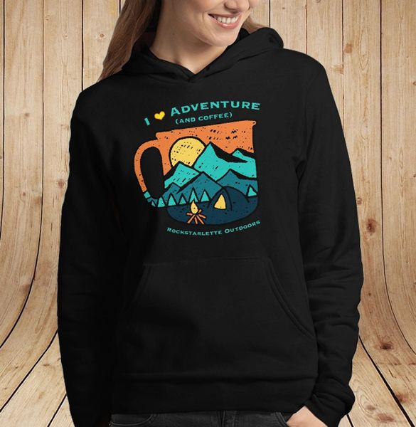 I Love Adventure (and Coffee) Fleece Lined Relaxed Pullover Hoodie, NEW! SUPER soft