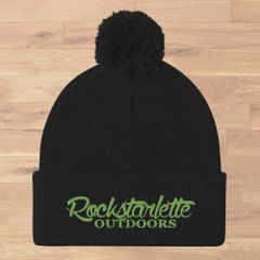 Black Knit Hat with Rockstarlette Outdoors Logo in Lime Green, Pom Pom, NEW!