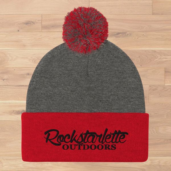 Red and Grey Knit Hat with Rockstarlette Outdoors Logo and Pom Pom, NEW!