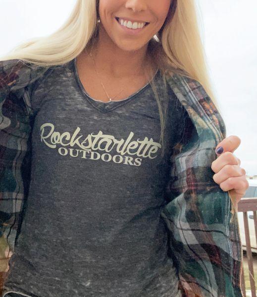 Rockstarlette Outdoors Vintage Wash V Neck T Shirt, Ultra Soft Burnout Fabric (S-XXL)