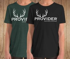 Youth PROVIDER™ T Shirt, Girls Sizes 6-12, Fishing or Hunting Logo, Black or Green