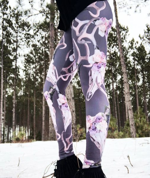 Deer Antler Leggings, (Option to add Wide Yoga Waistband)