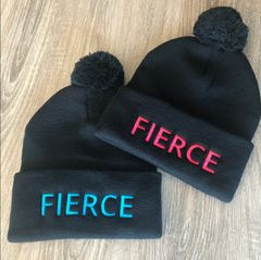 FIERCE Black Knit Hat with Pom Pom, Hot Pink or Blue Logo, NEW!