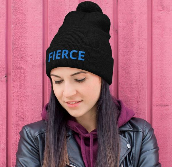 FIERCE Knit Hat, Black with Hot Pink or Blue Logo, NEW!