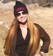 FIERCE Black Knit Hat with Pom Pom, Hot Pink or Blue Logo, NEW!