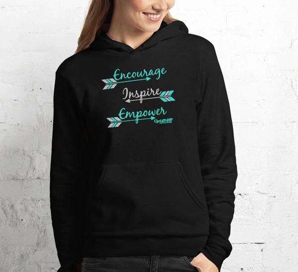 Encourage Inspire Empower Fleece Lined Pullover Hoodie, Black or Blue