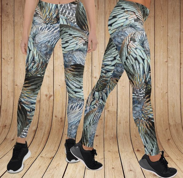 Turkey Feather Pattern Leggings, Option to Add Wide Yoga Waistband