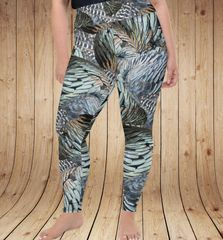 Turkey Feather Pattern Leggings, Plus Sizes (2XL-5XL)