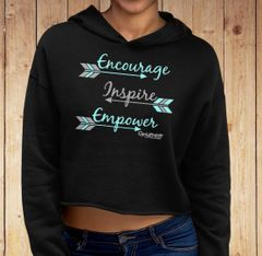 Encourage Inspire Empower Fleece Lined CROPPED Pullover Hoodie, Black