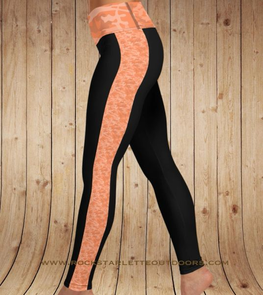 Orange Camo Stripe Yoga Band Leggings, NEW!