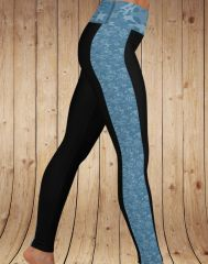 Blue Camo Stripe Yoga Band Leggings, NEW!