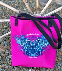 Tote Bag: Handgun 2nd Amendment Logo, Made in the USA, Hot Pink