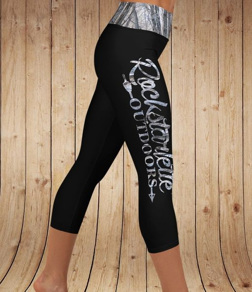 Logo CAPRI, Yoga Waistband Version, Black and Snow Birch (Option to make full length)
