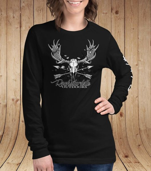 Rockstarlette Outdoors Archery/Moose Logo Long Sleeve T Shirt, Black or Olive Green