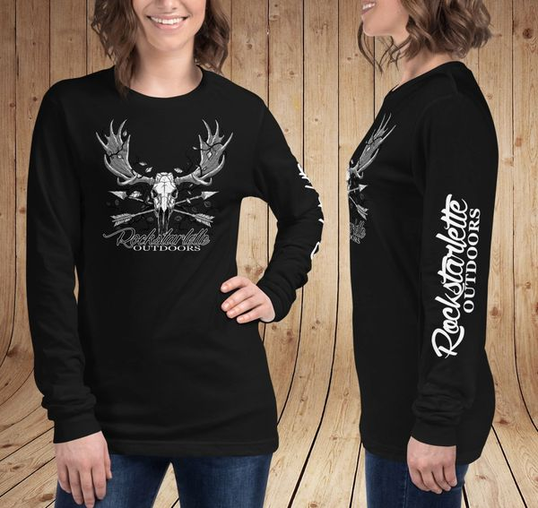 Rockstarlette Outdoors Archery Moose Logo Long Sleeve T Shirt, Black or Olive Green