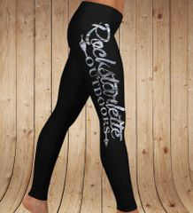 Logo Leggings, Black with Snow Birch Camo Rockstarlette Outdoors Logo