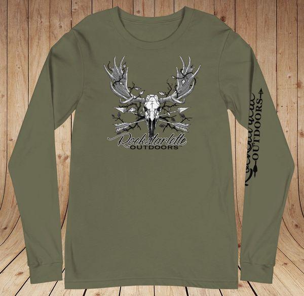 Rockstarlette Outdoors Archery/Moose Logo Long Sleeve T Shirt, Olive Green or Black