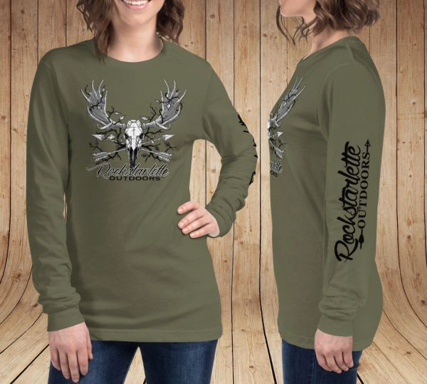 Rockstarlette Outdoors Archery/Moose Logo Long Sleeve T Shirt, Olive Green or Black