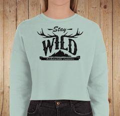 Stay Wild Fleece Lined CROPPED Sweatshirt, Mint