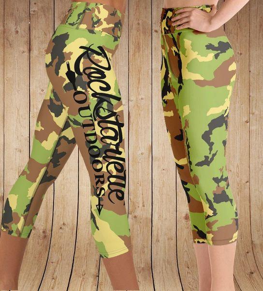 Camo Logo Leggings CAPRI with Yoga Wasitband, (Option to make Full Length)