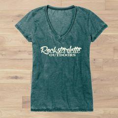 Rockstarlette Outdoors Vintage Wash V Neck T Shirt, Ultra Soft Burnout Fabric, NEW color Muted Green