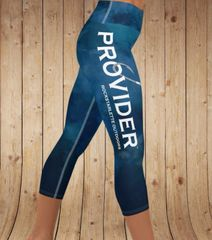 PROVIDER™ Watercolor Fishing Logo Yoga CAPRI, Wide Waistband (Option to make full length) NEW