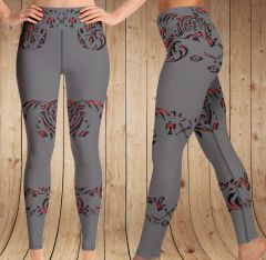 Tribal Archery Logo Leggings, Wide Yoga Waistband Version, Grey, Red and Black